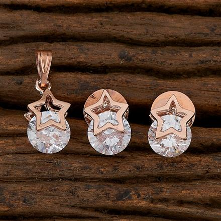 410380 Cz Classic Pendant Set With Rose Gold Plating
