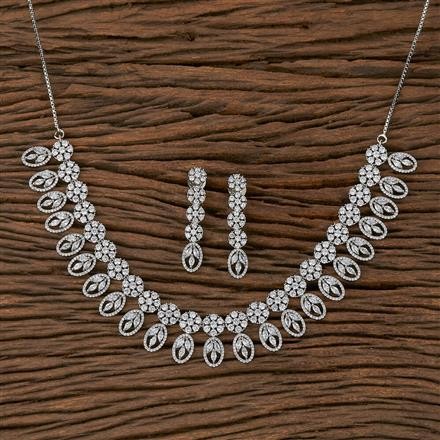 410417 Cz Classic Necklace With Rhodium Plating