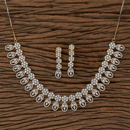 410418 Cz Classic Necklace With 2 Tone Plating