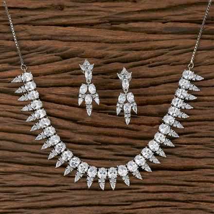 410420 Cz Classic Necklace With Rhodium Plating