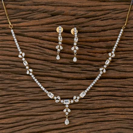 410433 Cz Delicate Necklace With 2 Tone Plating