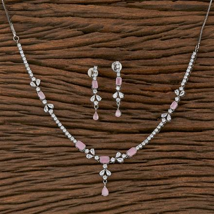 410434 Cz Delicate Necklace With Rhodium Plating