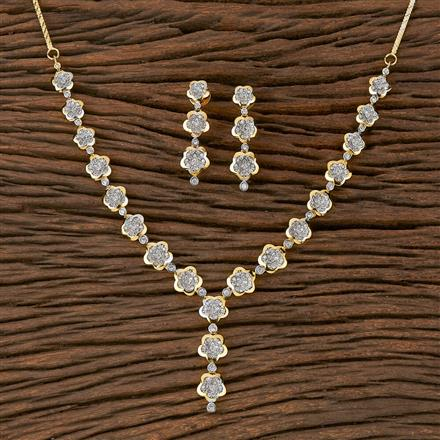 410437 Cz Classic Necklace With 2 Tone Plating