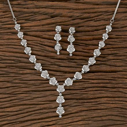 410438 Cz Classic Necklace With Rhodium Plating