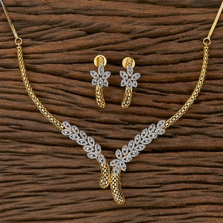 410440 Cz Classic Necklace With 2 Tone Plating