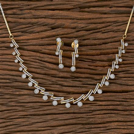 410443 Cz Classic Necklace With 2 Tone Plating