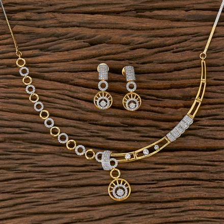 410446 Cz Classic Necklace With 2 Tone Plating