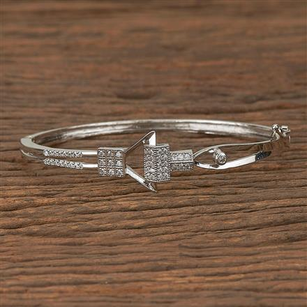 410447 Cz Delicate Kada With Rhodium Plating