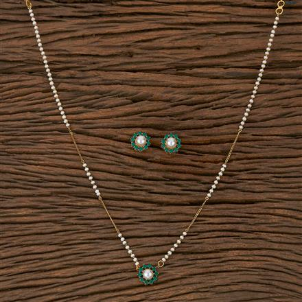 410451 Cz Delicate Pendant Set With Gold Plating