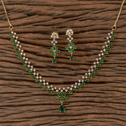 410488 Cz Classic Necklace With 2 Tone Plating