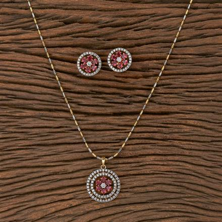 410491 Cz Classic Pendant Set With 2 Tone Plating