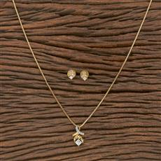 410534 Cz Delicate Pendant Set With 2 Tone Plating