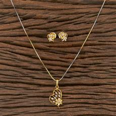 410543 Cz Delicate Pendant Set With 2 Tone Plating