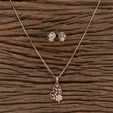 410544 Cz Delicate Pendant Set With Rose Gold Plating
