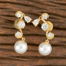 410886 Cz Short Earring With Gold Plating