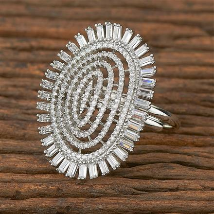 410894 Cz Classic Ring With Rhodium Plating