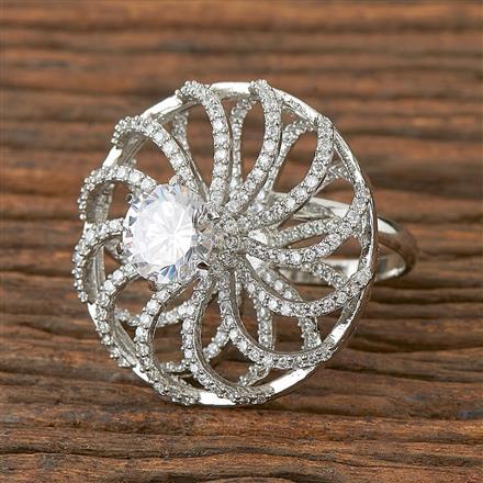 410899 Cz Classic Ring With Rhodium Plating