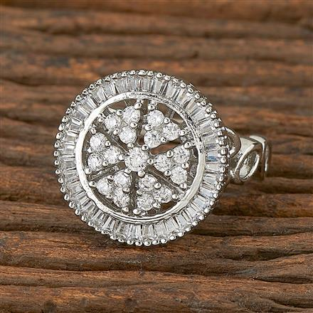 410904 Cz Classic Ring With Rhodium Plating