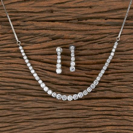 410911 Cz Delicate Necklace With Rhodium Plating