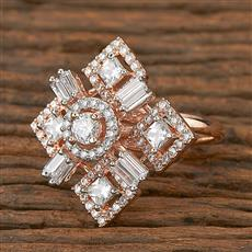 410968 Cz Classic Ring With Rose Gold Plating