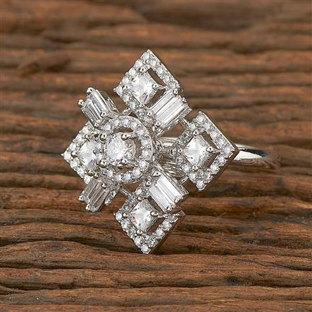 410970 Cz Classic Ring With Rhodium Plating