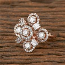 410986 Cz Classic Ring With Rose Gold Plating