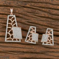 411013 Cz Classic Pendant Set With Rose Gold Plating