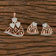 411038 Cz Classic Pendant Set With Rose Gold Plating