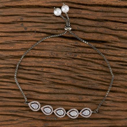 411245 Cz Adjustable Bracelet With Black Rose Plating