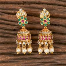 411262 Cz Jhumkis With Gold Plating