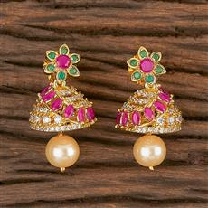 411263 Cz Jhumkis With Gold Plating