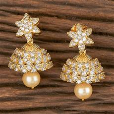 411269 Cz Jhumkis With Gold Plating