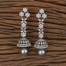 411361 Cz Jhumkis With Black Plating