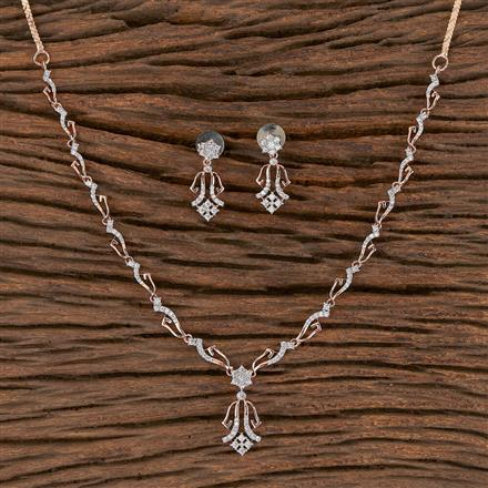 411446 Cz Classic Necklace With Rose Gold Plating