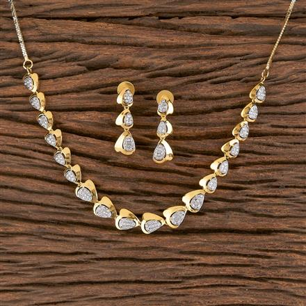 411448 Cz Classic Necklace With 2 Tone Plating