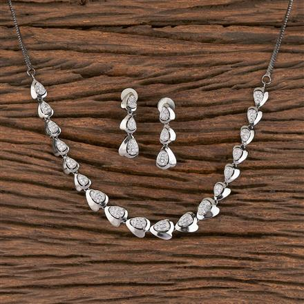 411449 Cz Classic Necklace With Rhodium Plating