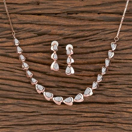 411450 Cz Classic Necklace With Rose Gold Plating