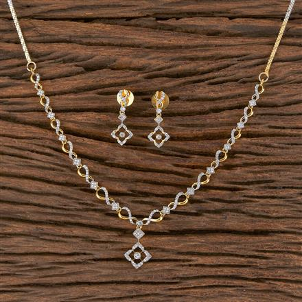 411451 Cz Delicate Necklace With 2 Tone Plating