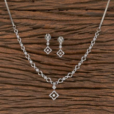 411452 Cz Delicate Necklace With Rhodium Plating