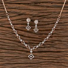 411453 Cz Delicate Necklace With Rose Gold Plating