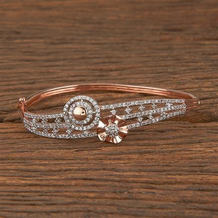 411460 Cz Delicate Kada With Rose Gold Plating