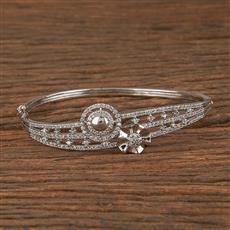 411461 Cz Delicate Kada With Rhodium Plating