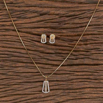411462 Cz Delicate Pendant Set With 2 Tone Plating