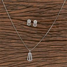 411463 Cz Delicate Pendant Set With Rhodium Plating