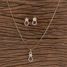 411465 Cz Delicate Pendant Set With 2 Tone Plating