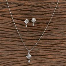 411468 Cz Delicate Pendant Set With Rhodium Plating