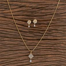 411470 Cz Delicate Pendant Set With 2 Tone Plating