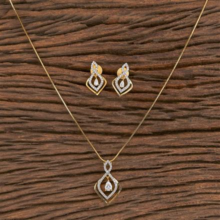 411472 Cz Delicate Pendant Set With 2 Tone Plating