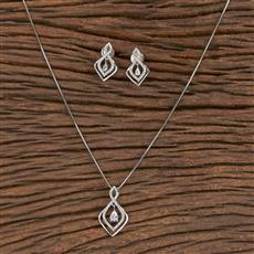 411473 Cz Delicate Pendant Set With Rhodium Plating