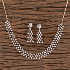 411498 Cz Classic Necklace With Rose Gold Plating